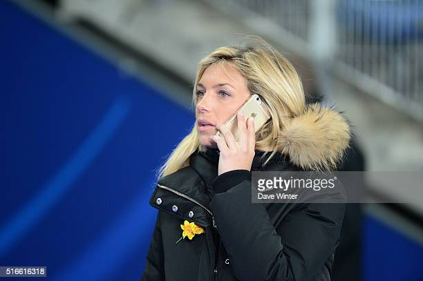 TV presenter Clementine Sarlat during the RBS Six Nations match between France and England at Stade de France on March 19 2016 in Paris France