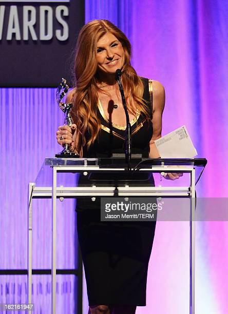 Presenter Connie Britton onstage during the 15th Annual Costume Designers Guild Awards with presenting sponsor Lacoste at The Beverly Hilton Hotel on...