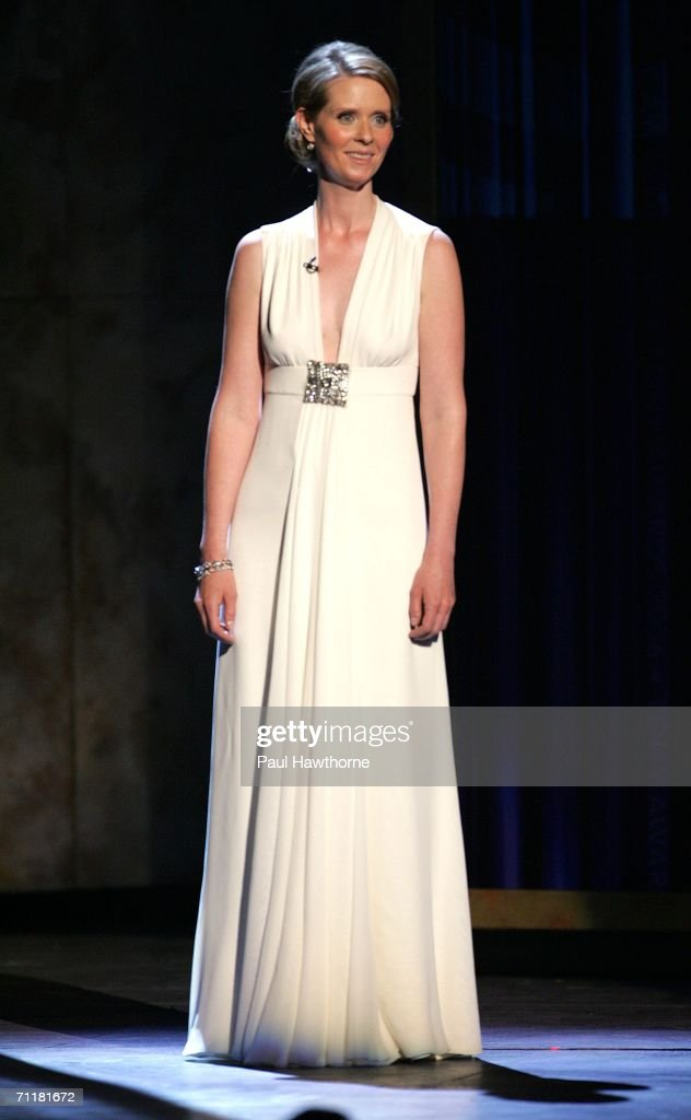 Presenter Cynthia Nixon appears onstage at the 60th Annual Tony Awards at Radio City Music Hall June 11, 2006 in New York City.