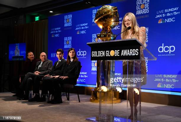Presenter Dakota Fanning speaks at the 77th Annual Golden Globe Awards Nominations Announcement at The Beverly Hilton Hotel on December 9 2019 in...