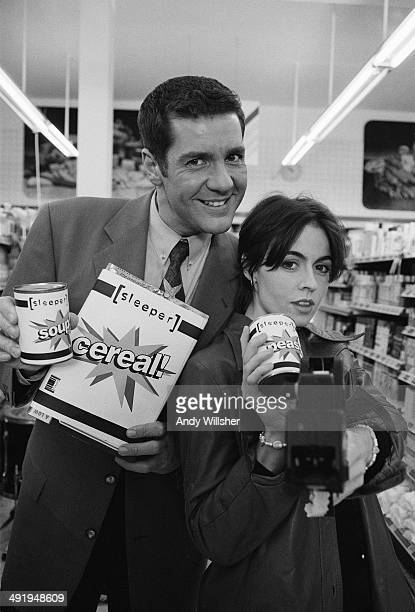 TV presenter Dale Winton with singer Louise Wener of British indie rock group Sleeper on the set of the video shoot for the single 'Inbetweener'...