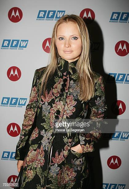 TV presenter Dana Borisova poses before the PARFIONOVA Fashion Show as part of Russian Fashion Week Spring/Summer 2007 on October 24 2006 in Moscow...