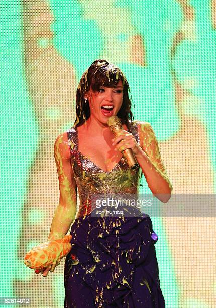 Presenter Dannii Minogue is slimed at the Nickelodeon Kids' Choice Awards UK 2008 held at the ExCeL London on September 13 2008 in London England