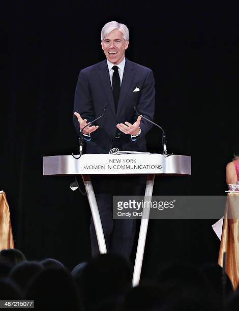 Presenter David Gregory speaks during the 2014 Matrix Awards at The Waldorf Astoria on April 28 2014 in New York City