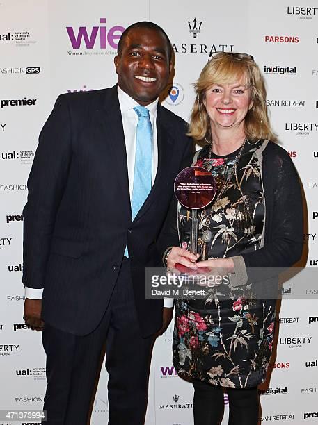 Presenter David Lammy and Jenny Holloway winner of the Community Award attends the LDNY show and WIE Award gala sponsored by Maserati at Goldsmith...