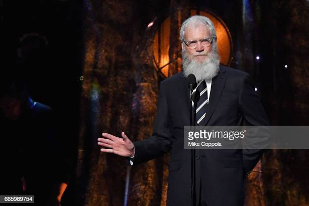 Presenter David Letterman speaks onstage at the 32nd Annual Rock Roll Hall Of Fame Induction Ceremony at Barclays Center on April 7 2017 in New York...