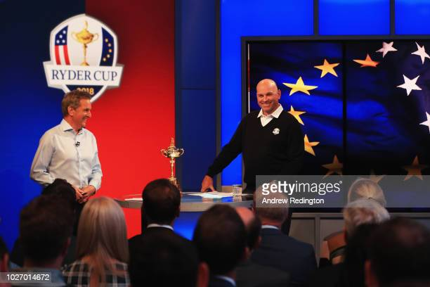 Presenter David Livingstone speaks to Thomas Bjorn during the Ryder Cup Team Europe Wild Card Selection Announcement on September 5 2018 in Isleworth...
