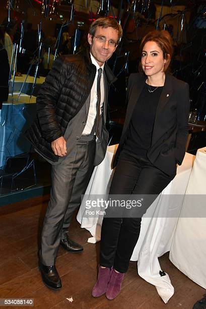 TV presenter David Pujadas and Lea salameattend the Atlantico 5th Anniversary at Cafe Campana in Musee D'Orsay on May 24 2016 in Paris France