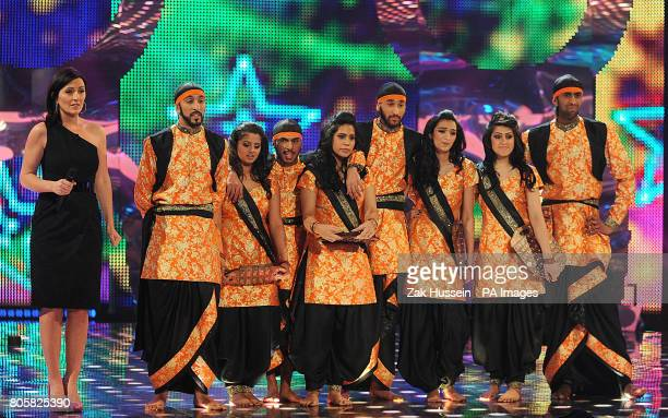 Presenter, Davina McCall and Bhangra Heads during the first semi final of Sky 1's Got To Dance, at Maidstone Studios in Kent.