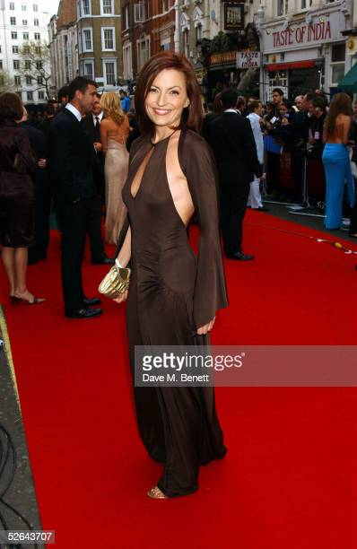 Presenter Davina McCall arrives at The Pioneer British Academy Television Awards at the Theatre Royal on April 17, 2005 in London.
