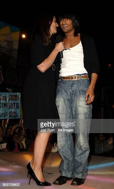 Presenter Davina McCall greets Billi Bhatti as he becomes the third person to be evicted from the Big Brother house at Elstree Studios Borehamwood...