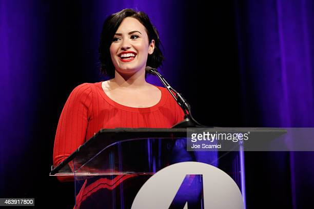 Presenter Demi Lovato speaks onstage at the 2nd Annual unite4humanity presented by ALCATEL ONETOUCH at the Beverly Hilton Hotel on February 19 2015...