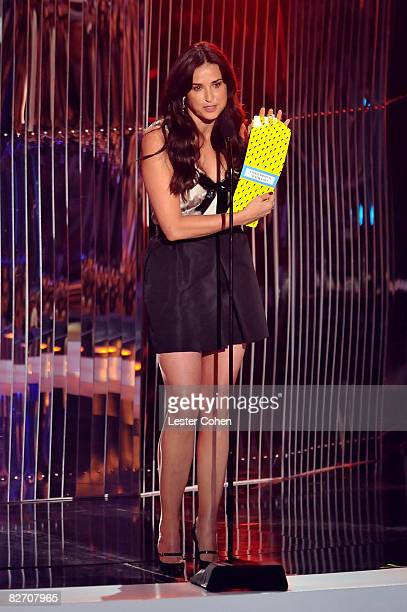 Presenter Demi Moore on stage at the 2008 MTV Video Music Awards at Paramount Pictures Studios on September 7 2008 in Los Angeles California