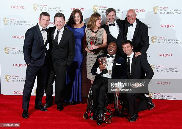 Presenter Dermot O'Leary with Alex Brooker Rachel Lathan Deborah Poulton Ade Adepitan Gary Franses and Giles Long winners of the Sport and Live Event...