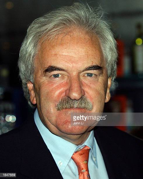 TV presenter Des Lynam attends the launch party of golfer Colin Montgomerie's autobiography The Real Monty at the Sheraton Park Tower October 25 2002...