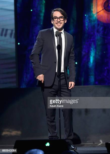 Presenter Dhani Harrison speaks onstage at the 32nd Annual Rock Roll Hall Of Fame Induction Ceremony at Barclays Center on April 7 2017 in New York...