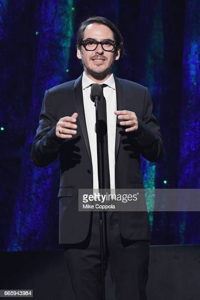 Presenter Dhani Harrison speaks onstage at the 32nd Annual Rock & Roll Hall Of Fame Induction Ceremony at Barclays Center on April 7, 2017 in New...