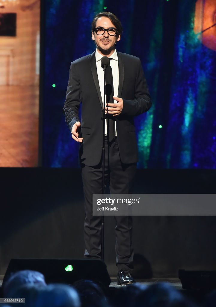 Presenter Dhani Harrison speaks onstage at the 32nd Annual Rock & Roll Hall Of Fame Induction Ceremony at Barclays Center on April 7, 2017 in New York City. The event will broadcast on HBO Saturday, April 29, 2017 at 8:00 pm ET/PT