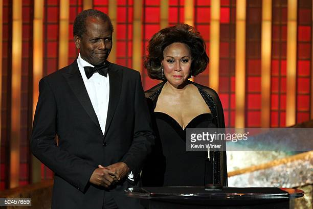 Presenter Diahann Carroll and Sidney Poitier are seen on stage at the 36th NAACP Image Awards at the Dorothy Chandler Pavilion on March 19 2005 in...