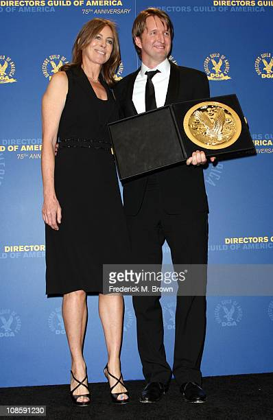 Presenter Director Kathryn Bigelow and Director Tom Hooper winner of the Outstanding Directorial Achievement in Feature Film for 2010 award for The...