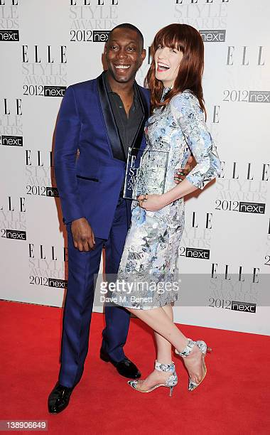Presenter Dizzee Rascal and Best Music Act winner Florence Welch pose in the press room at the ELLE Style Awards at The Savoy Hotel on February 13...