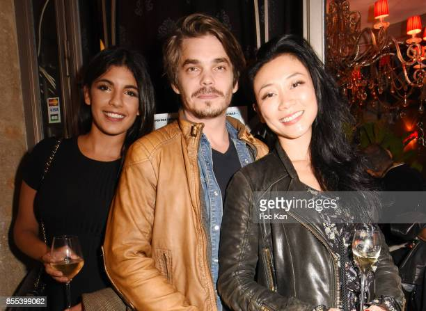 TV presenter Donia Eden actor Edouard Giard and Malika Lambert attend the 'Apero Gouter' Cocktail Hosted by Le Grand Seigneur Magazine at Bistrot...