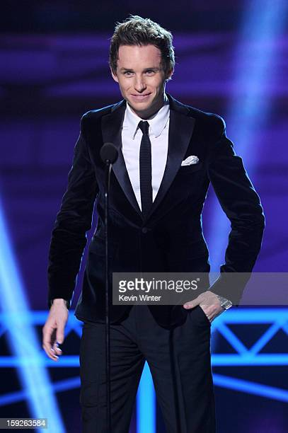 Presenter Eddie Redmayne speaks onstage at the 18th Annual Critics' Choice Movie Awards held at Barker Hangar on January 10 2013 in Santa Monica...