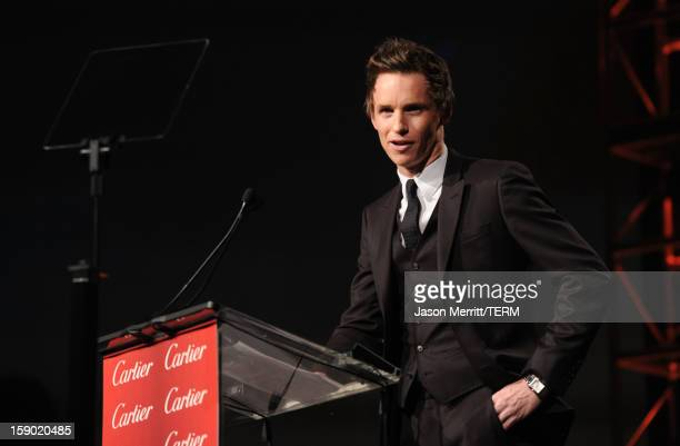 Presenter Eddie Redmayne speaks onstage during the 24th annual Palm Springs International Film Festival Awards Gala at the Palm Springs Convention...