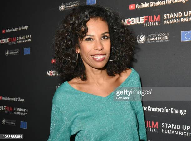 TV presenter Elisabeth Tchoungui attends the 'Mobile Film Festival Stand Up 4 Human Rights Awards' Ceremony Hosted by Youtube Creators For Change at...