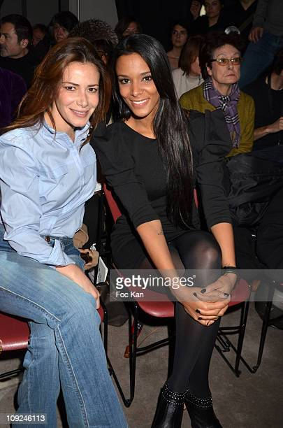 TV presenter Elsa Fayer and singer Shy M'z attend the Franck Sorbier Front Row Paris Fashion Week Haute Couture S/S 2011 at Sotheby's on January 26...