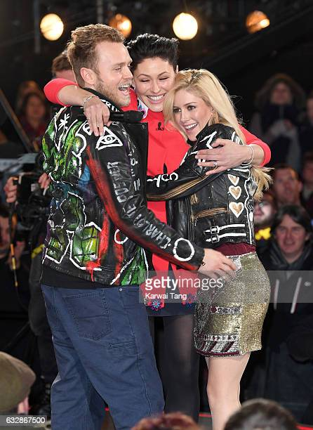 Presenter Emma Willis with Heidi Montag and Spencer Pratt who are the 8th housemates evicted from the Celebrity Big Brother house at Elstree Studios...
