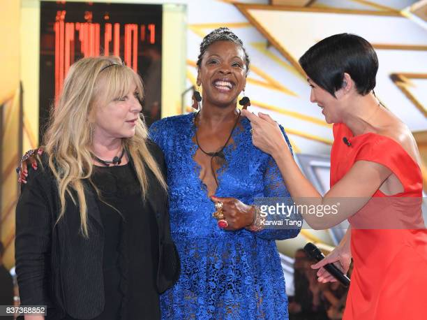 Presenter Emma Willis with Helen Lederer and Sandi Bogle who were evicted from the Celebrity Big Brother House at Elstree Studios on August 22 2017...