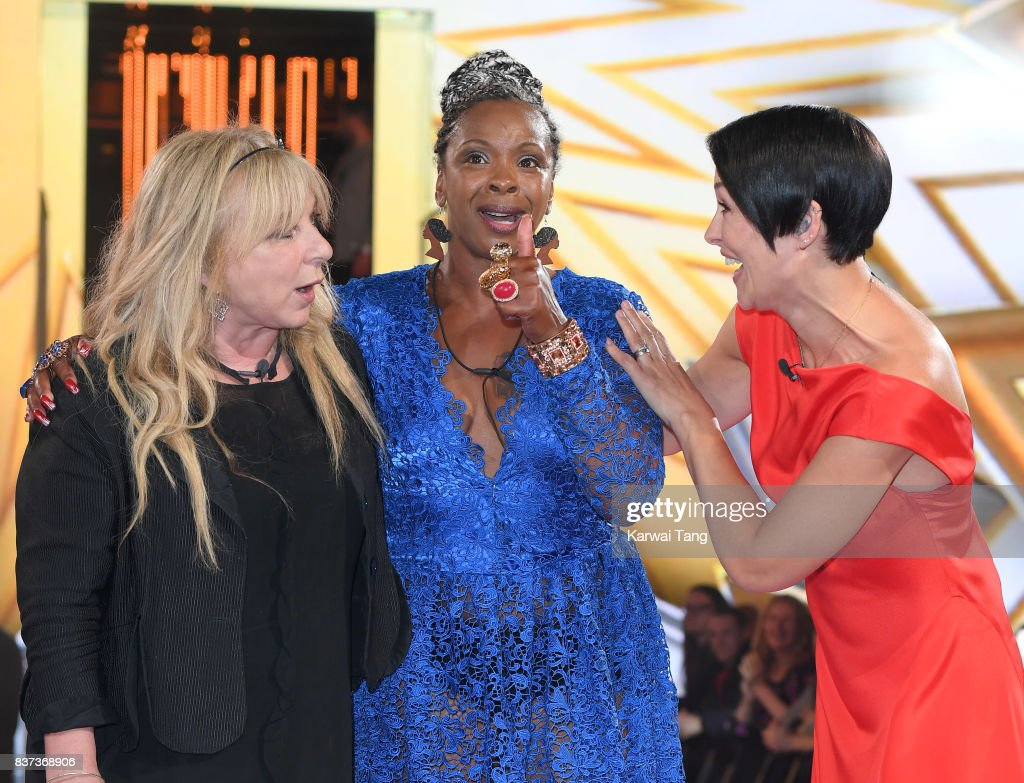 Presenter Emma Willis (R) with Helen Lederer (L) and Sandi Bogle (C) who were evicted from the Celebrity Big Brother House at Elstree Studios on August 22, 2017 in Borehamwood, England.