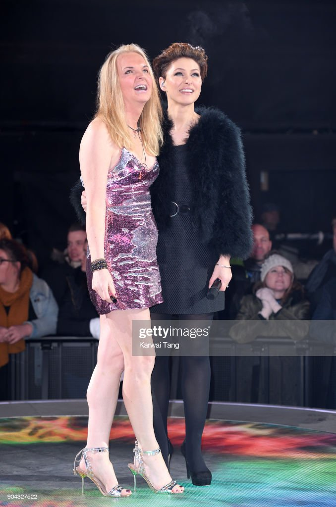 Presenter Emma Willis (R) with India Willoughby (L) who was evicted during the Celebrity Big Brother live eviction at Elstree Studios on January 12, 2018 in Borehamwood, England.