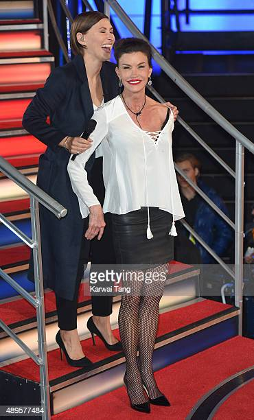 Presenter Emma WIllis with Janice Dickinson who is evicted from the Celebrity Big Brother house ahead of the final on Thursday September 24 at...