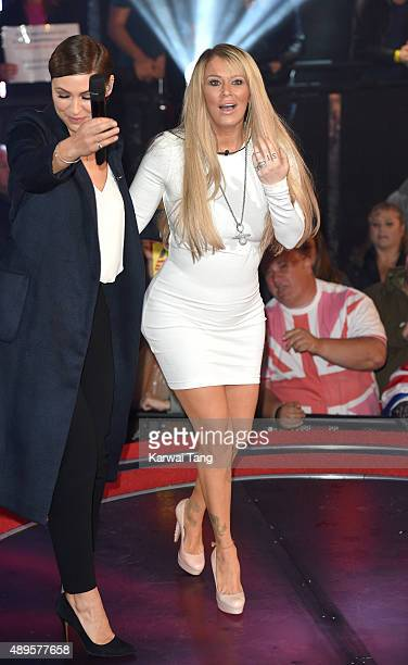 Presenter Emma WIllis with Jenna Jameson who is evicted from the Celebrity Big Brother house ahead of the final on Thursday September 24 at Elstree...