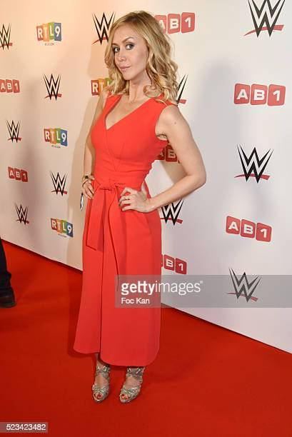 TV presenter Enora Malagre from TPMP attends 'WLIVE REVENGE' Wrestlemania Show Party at Hotel Accor Arena Bercy on April 22 2016 in Paris France