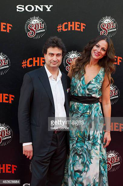 Presenter Eva Gonzalez and Chef Pepe Rodriguez attends 'Chef' Madrid premiere at the Callao cinema on July 24 2014 in Madrid Spain