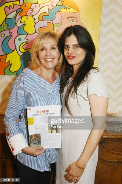 TV presenter Fabienne Amiach and painter Lee Michel attend 'LesPensees de Smain' Book Signing et Lee Michel Paintings Preview at Villa Foch on April...