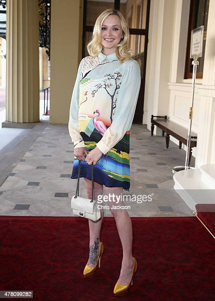 Presenter Fearne Cotton arrives at Buckingham Palace for the Queen's Young Leaders Event on June 22 2015 in London England