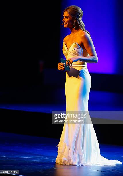 Presenter Fernanda Lima speaks during the opening ceremony of the 64th FIFA Congress at the Expocenter Transamerica on June 10 2014 in Sao Paulo...
