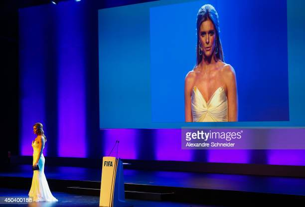 Presenter Fernanda Lima speaks during the opening ceremony of the 64th FIFA Congress at the Expo Transamerica on June 10 2014 in Sao Paulo Brazil