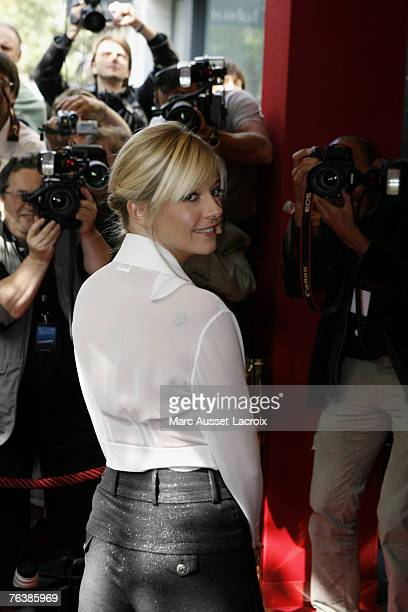 Presenter Flavie Flament arrives at the TF1 annual press conference held at the Olympia on August 29 2007 in Paris France Photo by