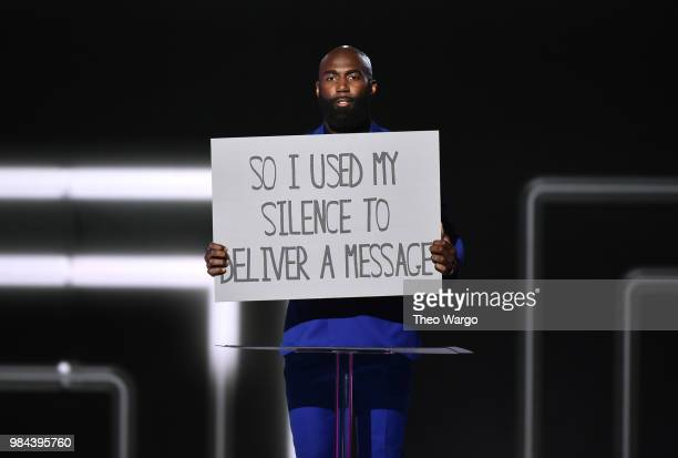 Presenter Football safety Malcolm Jenkins appears on stage during VH1 Trailblazer Honors 2018 at The Cathedral of St John the Divine on June 21 2018...