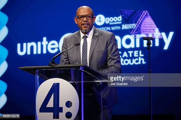 Presenter Forest Whitaker speaks onstage at the 2nd Annual unite4humanity presented by ALCATEL ONETOUCH at the Beverly Hilton Hotel on February 19...
