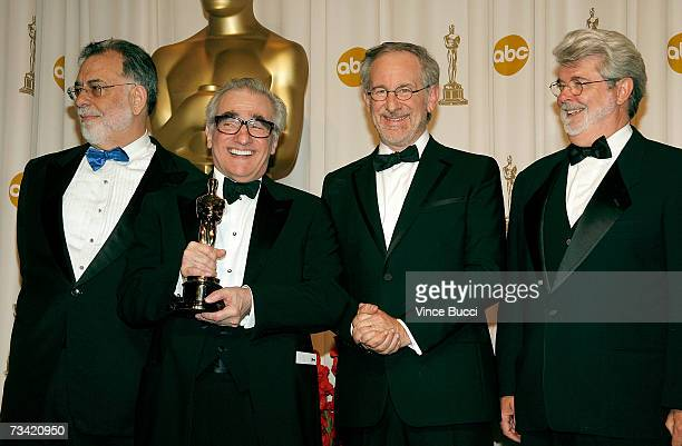 Presenter Francis Ford Coppola winner of Best Achievement in Directing for 'The Departed' Martin Scorsese presenter Steven Spielberg and presenter...