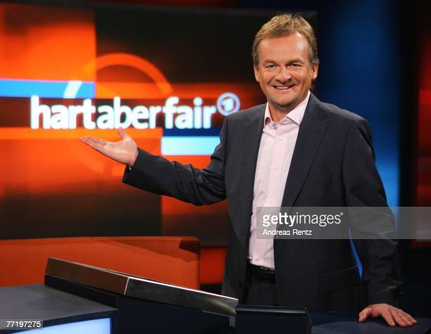 TV presenter Frank Plasberg poses during the photo call for the political talkshow 'hart aber fair' at the City Globe Studio on October 5 2007 in...