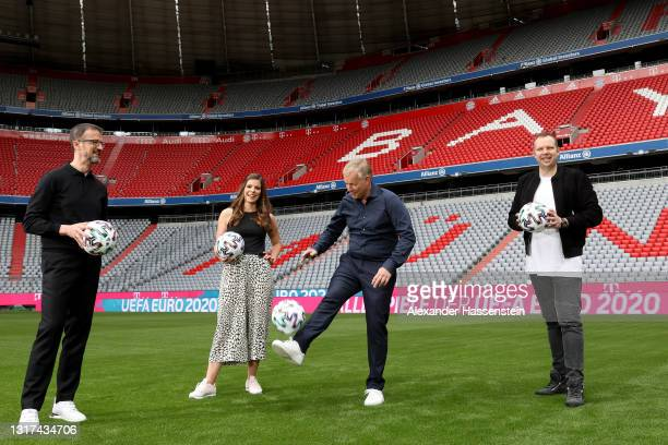Presenter Fredi Bobic, Presenter Amelie Stiefvatter, Presenter Johannes B. Kerner and Presenter Wolff-Christoph Fuss are seen on the pitch during the...