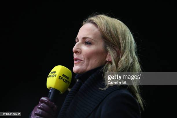 Presenter Gabby Logan ahead of the FA Cup Fourth Round Replay match between Oxford United and Newcastle United at Kassam Stadium on February 04, 2020...