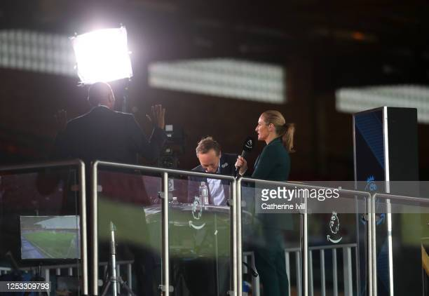 Presenter Gabby Logan is seen working in the stands prior to the Premier League match between Crystal Palace and Burnley FC at Selhurst Park on June...